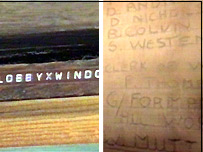 Label on the window (left) and the builders names scrawled in the plaster (right)