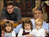 Ukrainian President Viktor Yushchenko (right) with son Andriy (left) and other children