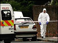 Police examine white VW Golf