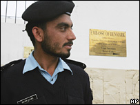 A Pakistani policeman outside the Danish embassy