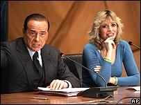 Silvio Berlusconi and Alessandra Mussolini