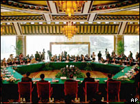 The general view of the six-party talks meeting at Diaoyutai State Guesthouse in Bejing Tuesday, July 26, 2005.
