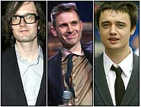 Jarvis Cocker, Alex Kapranos from Franz Ferdinand, and Pete Doherty
