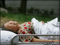 A patient at the Ziyang First People's Hospital on July 26, 2005