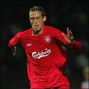 Peter Crouch on his Liverpool debut in Europe