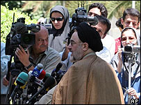 Mohammad Khatami talks to journalists after cabinet meeting