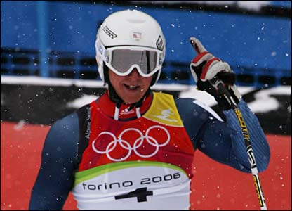 Britain's Finlay Mickel competes in the men's super-G in Sestriere