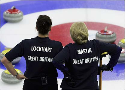Britain's Jackie Lockhart and Rhona Martin