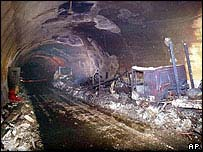 Fire damage in tunnel