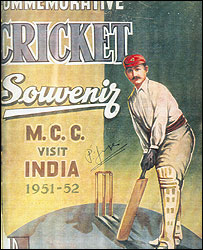 Cover of a souvenir to commemorate England team's visit to India in 1951