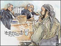 Artist's drawing of Bouyeri in court in Amsterdam