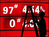 A man adjusts a petrol station sign in China