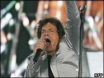 Mick Jagger performing in Rio