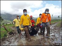 Rescue workers on Leyte island