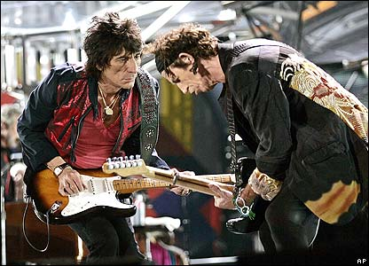 Rolling Stones Ronnie Wood (left) and Keith Richards