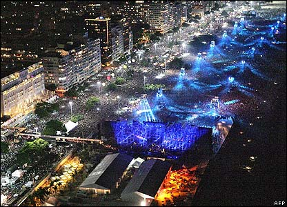 View along Copacabana beach during the show