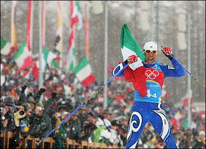 Italy's Christian Zorzi claims gold for Italy in the men's 4 x 10km cross-country relay