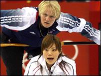 British skip Rhona Martin looks on anxiously against Japan opposite number Ayumi Onodera