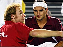 Marc Rosset and Roger Federer on Davis Cup duty