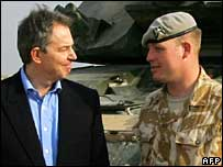 Tony Blair with Cpl Pritchard