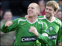 Neil Lennon is congratulated on his collector's item goal