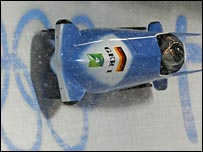 Germany in action during the third round of the bobsleigh