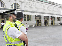 Police at Cardiff Central railway station