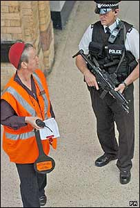 An armed police officer on patrol at York Station