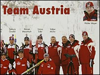 An Austrian biathlon team photo given to the media in Turin, with Mayer included top right.