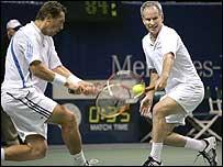 John McEnroe (right) in action with Jonas Bjorkman (left) in San Jose