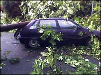 Car damaged by tornado