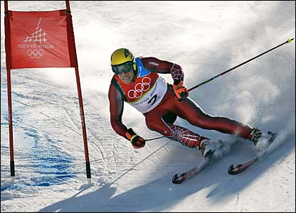 Austria's Hermann Maier races in the men's giant slalom in Sestriere