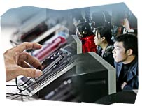 Technological innovation, chinese people at computers
