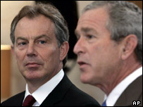 Tony Blair and George Bush at the G8 summit, AP