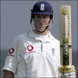 England's Marcus Trescothick celebrates his 50