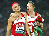 Benjamin (right) and Wales team-mate Matt Elias after winning Commonwealth relay silver