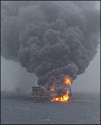 ONGC platform ablaze