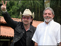 Bono is in Brazil for part of U2's world tour