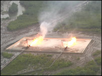 Horizontal gas flaring in the Delta