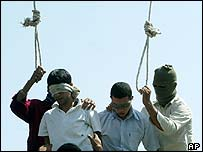 Mahmoud Asgari (left) and an unidentified youth are set to be hanged, in Mashhad, Iran