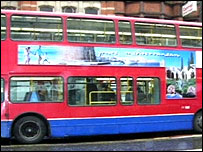Bus with the Cyprus poster