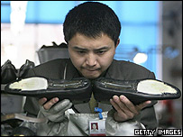 Worker in Chinese shoe factory