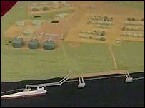Model of the LNG project at Milford Haven