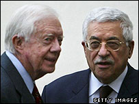 Jimmy Carter with Mahmoud Abbas
