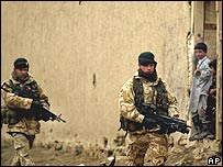 British troops on patrol in Kabul, Afghanistan
