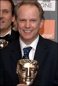 Nick Park with his Bafta award