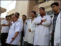 Iraqi doctors during a protest against alleged mistreatment by the Iraqi military