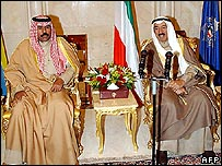 Crown Prince Sheikh Nawaf al-Ahmad and Emir Sheikh Sabah al-Ahmad