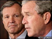 Republican Congressman Christopher Cox with President George W Bush
