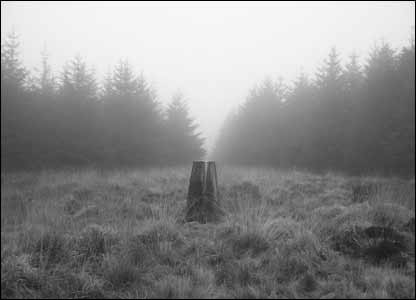 The pillar at the top of Mynydd Marchywel, sent by Andrew Rhodes of Pencoed, Bridgend